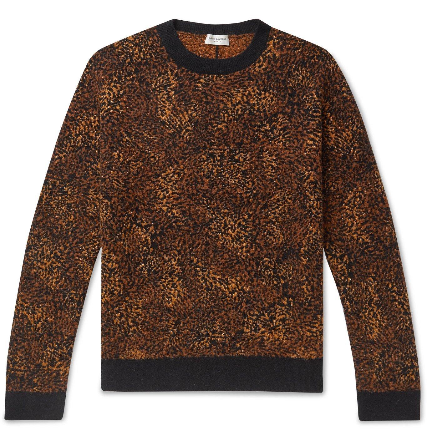 Photo: SAINT LAURENT - Metallic Leopard Jacquard Sweater - Neutrals