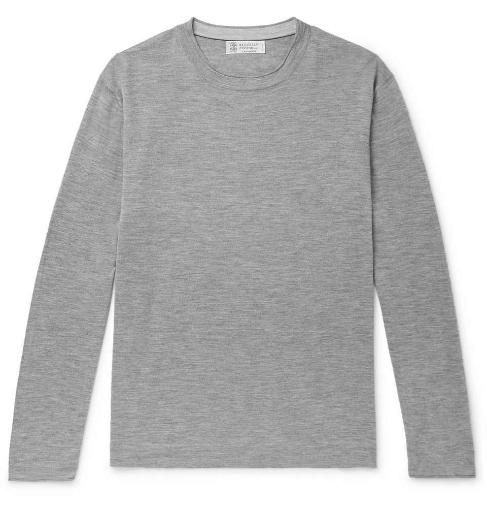 Photo: Brunello Cucinelli - Mélange Cashmere and Silk-Blend Sweater - Gray