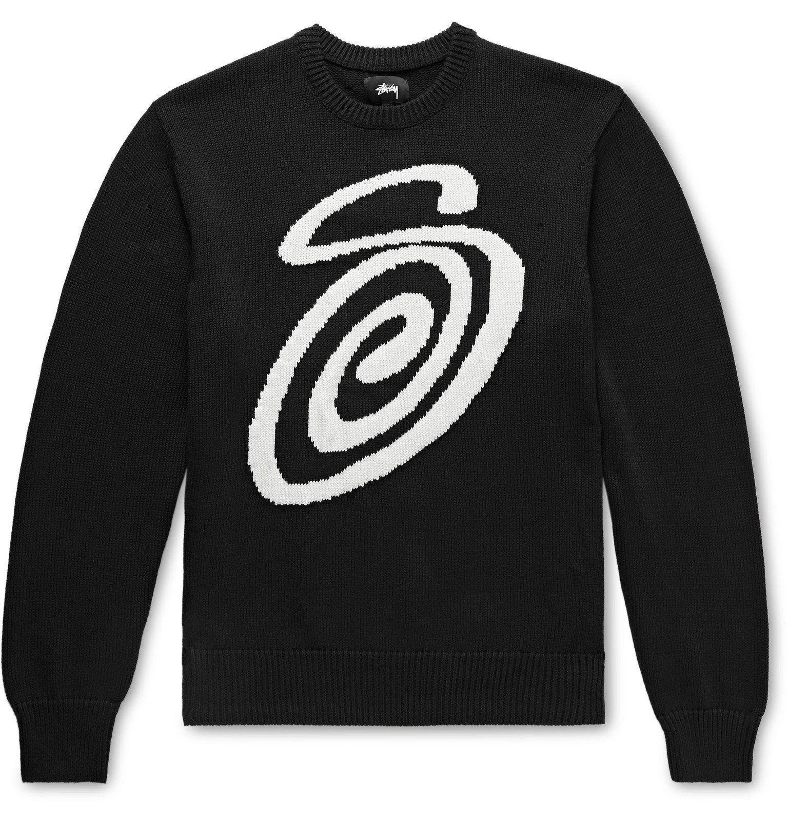 Photo: Stüssy - Logo-Intarsia Cotton Sweater - Black