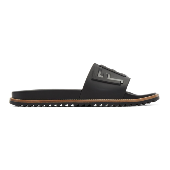 Photo: Fendi Black Rubber Fendi Vocabulary Slides