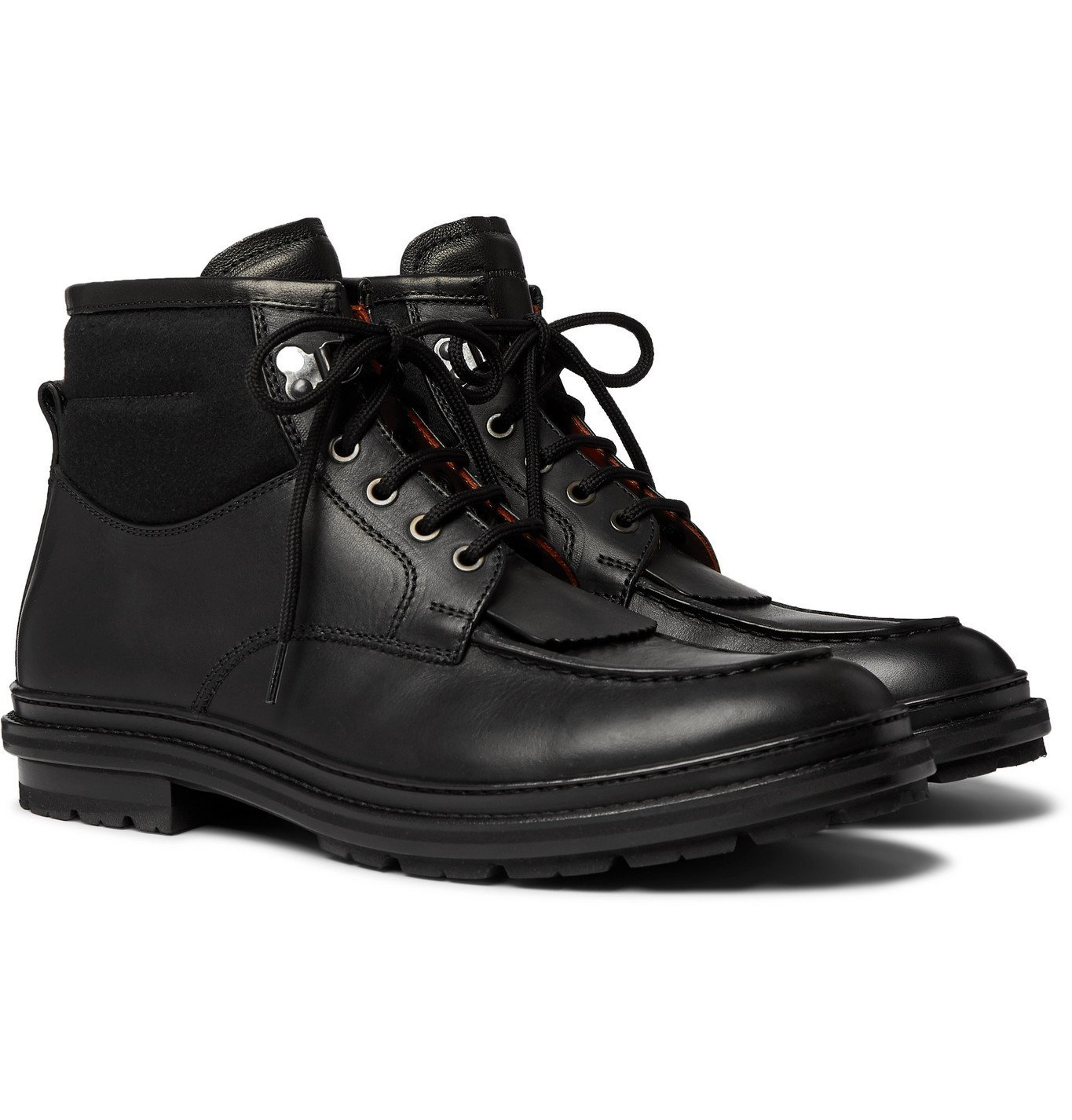 Photo: Ermenegildo Zegna - Felt-Panelled Leather Boots - Black