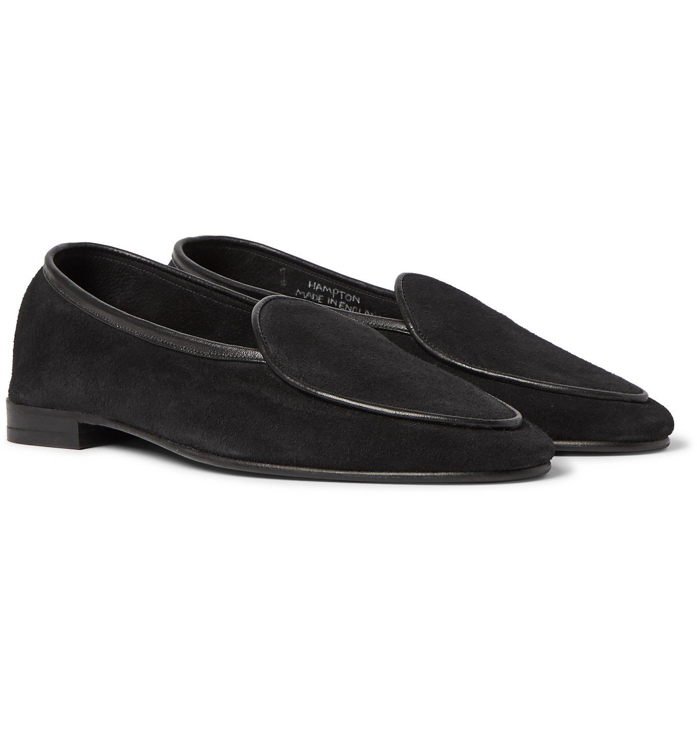 Photo: George Cleverley - Hampton Leather-Trimmed Suede Loafers - Black