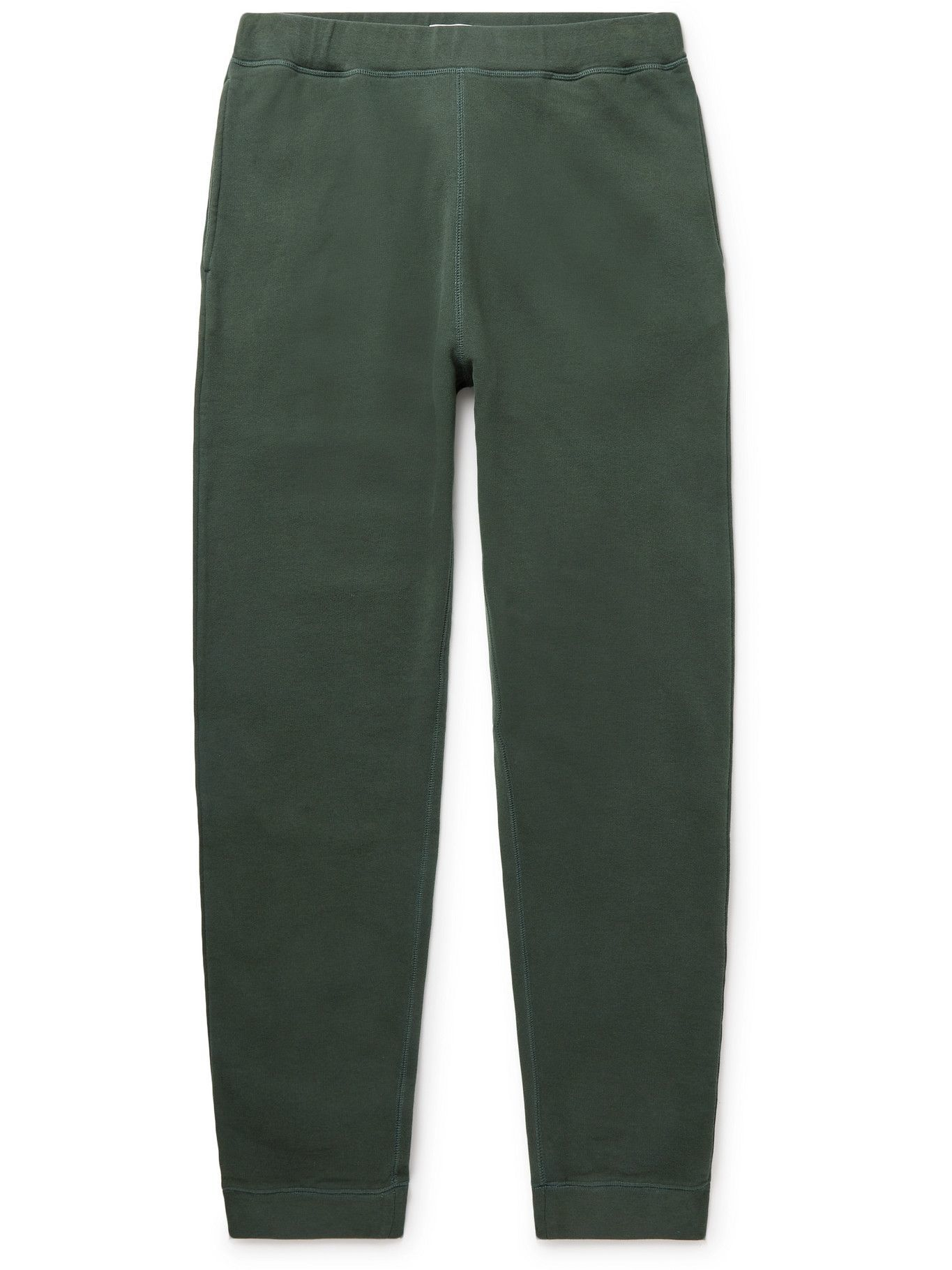 Photo: Sunspel - Tapered Brushed Loopback Cotton-Jersey Sweatpants - Green