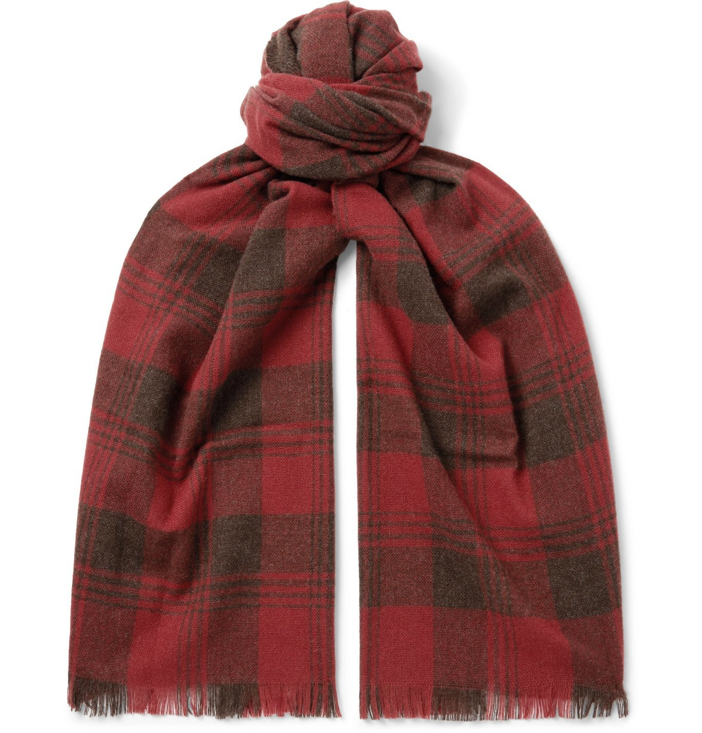 RRL - Wyatt Fringed Checked Wool and Cashmere-Blend Scarf - Red