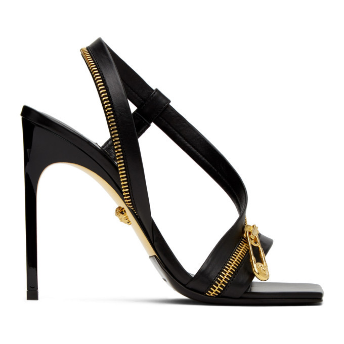 Photo: Versace Black Medusa Zipper Sandals