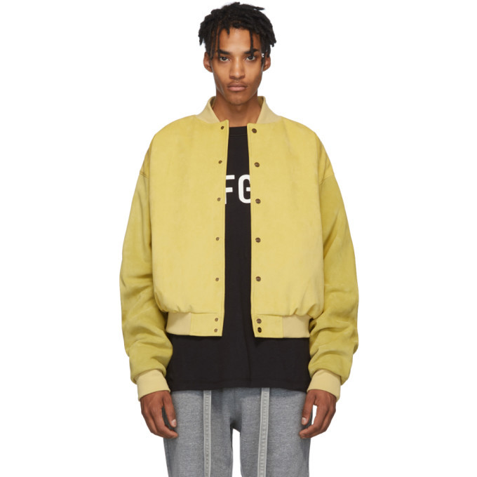 Photo: Fear of God Yellow Suede Sixth Collection Varsity Jacket