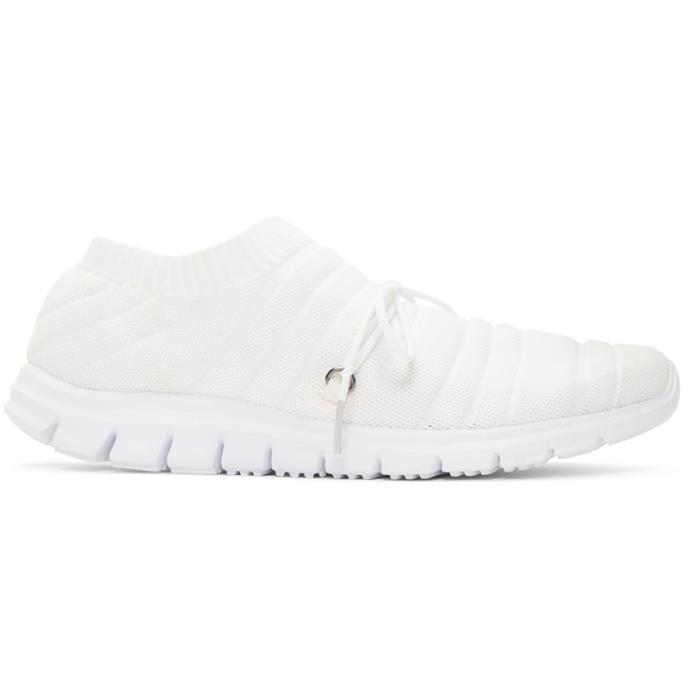 Photo: Issey Miyake Men White Knit Sock Sneakers