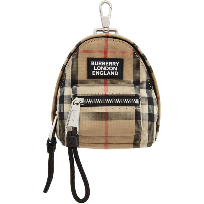 Photo: Burberry Beige Vintage Check Backpack Keychain
