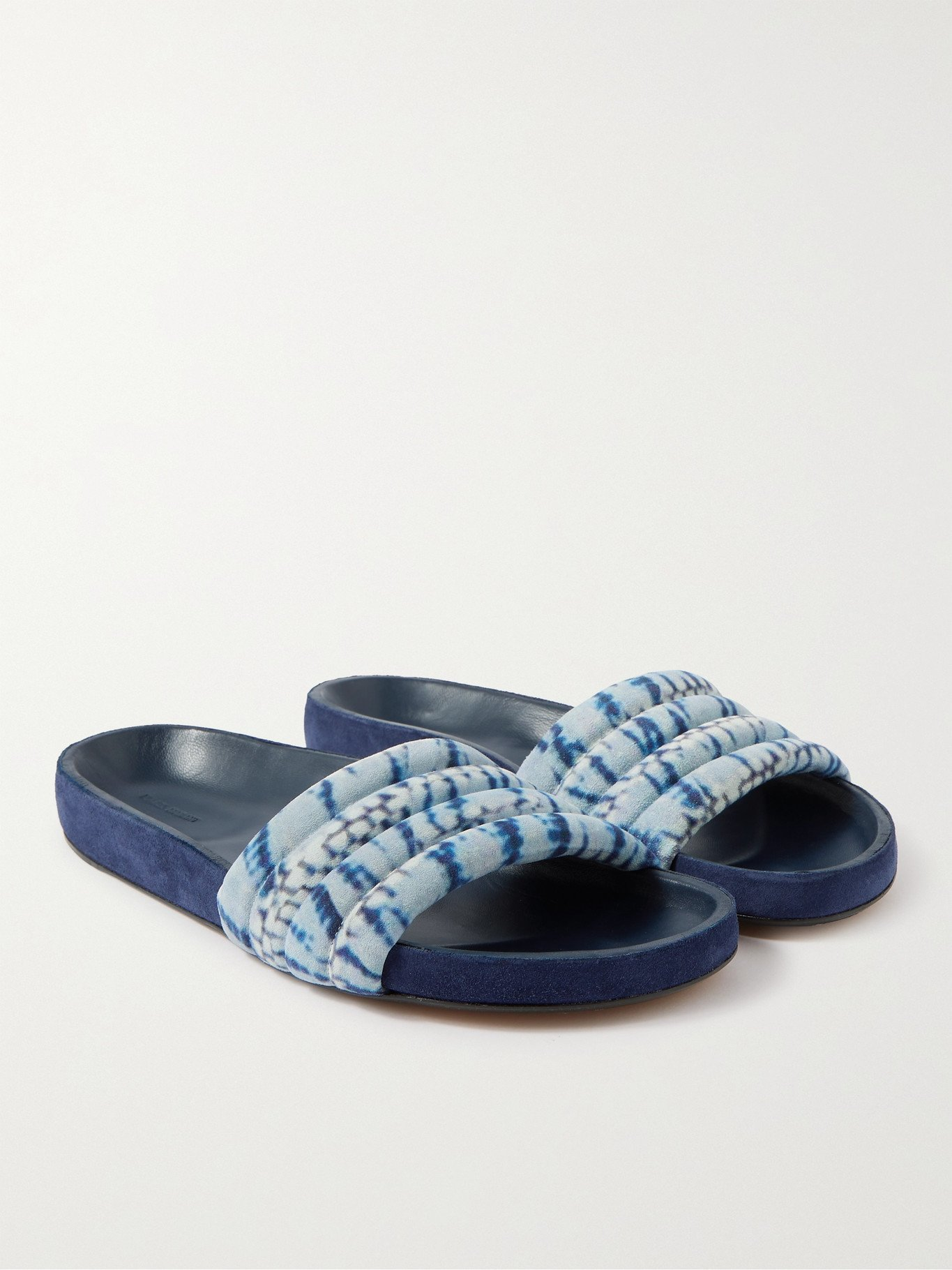 Photo: ISABEL MARANT - Helleah Tie-Dyed Velvet Slides - Blue