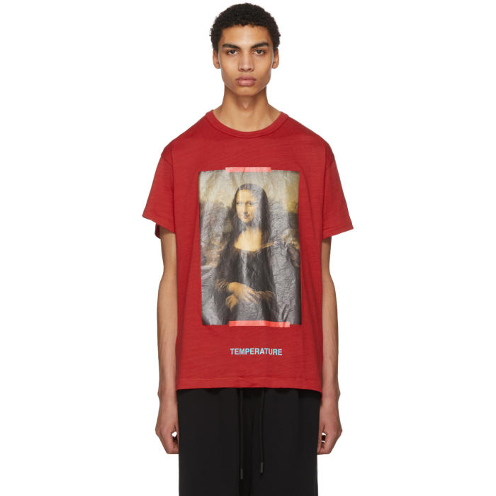 037f687c Off-White Red and Black Diagonal Monalisa T-Shirt Off-White