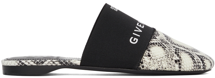 Photo: Givenchy Off-White & Black Python Bedford Mules