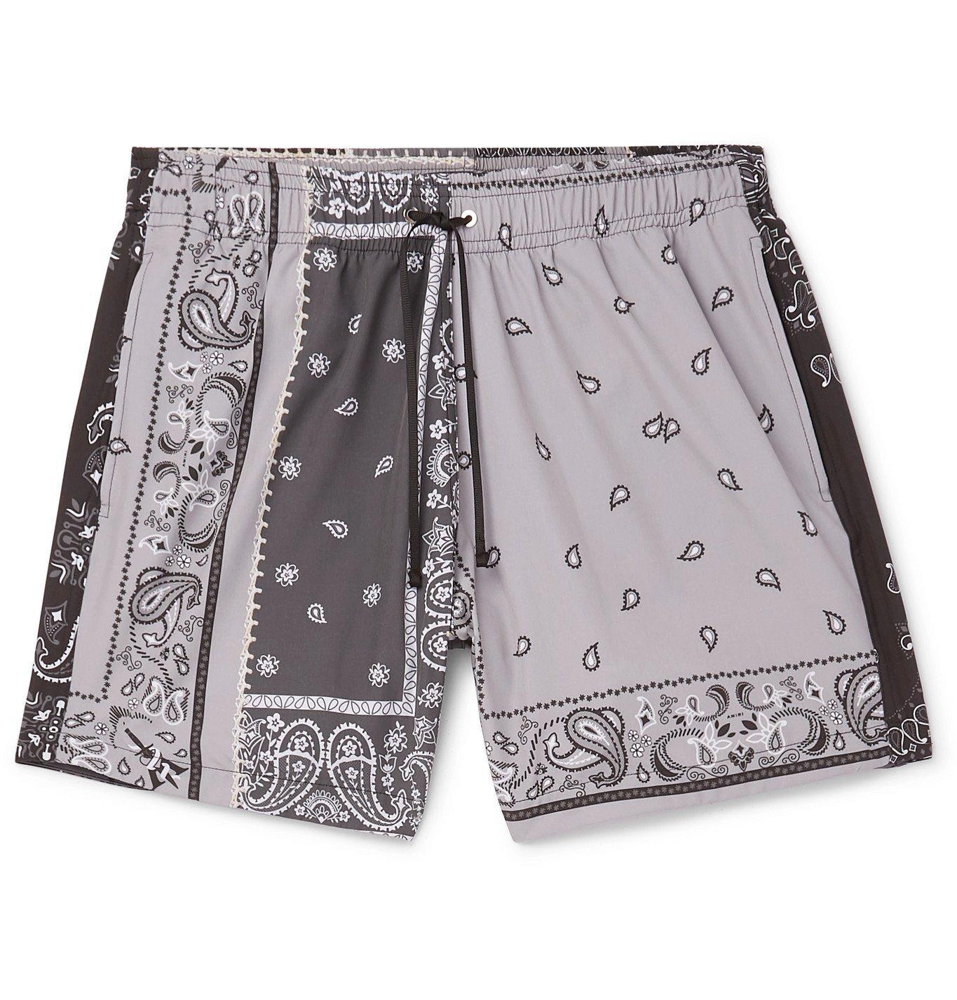 Photo: AMIRI - Mid-Length Bandana-Print Swim Shorts - Gray