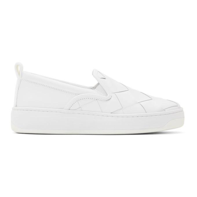 Photo: Bottega Veneta White Maxi Intrecciato Slip-On Sneakers