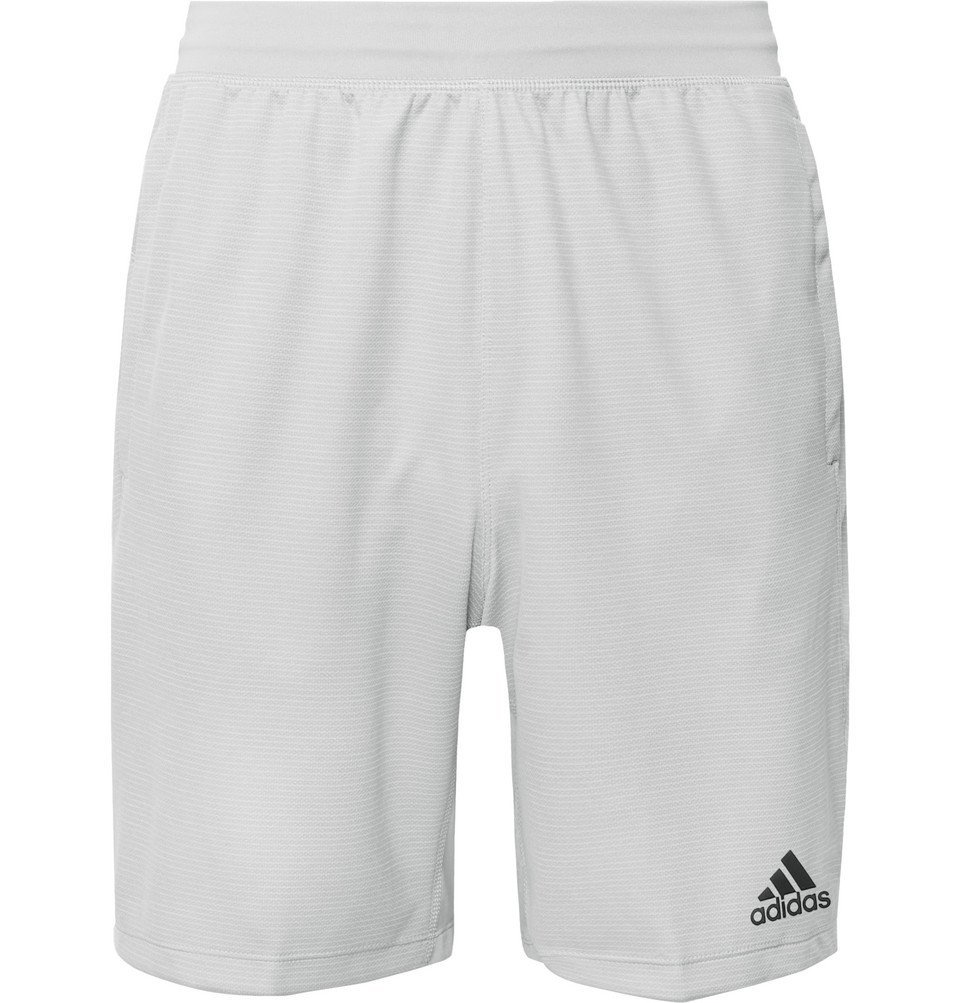 Photo: Adidas Sport - 4KRFT Mesh-Panelled Striped Climalite Shorts - Light gray