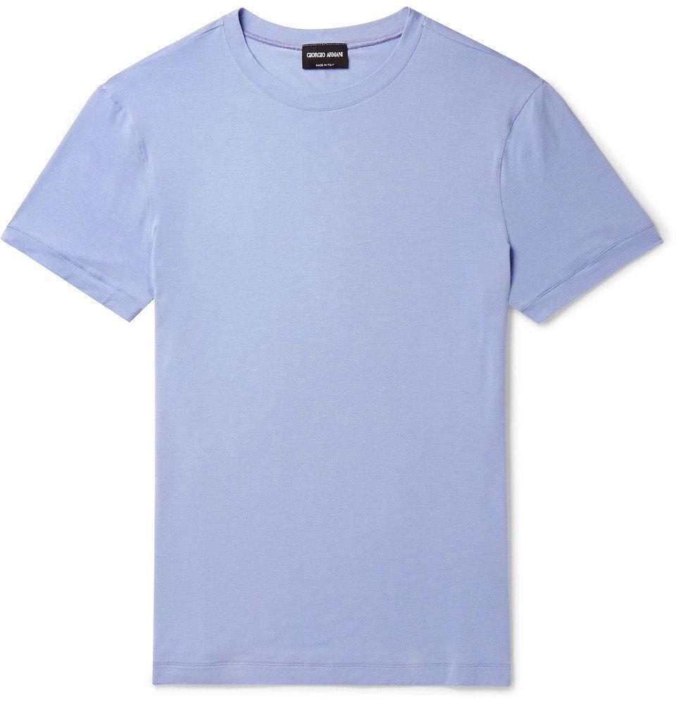 Giorgio Armani - Slim-Fit Stretch-Jersey T-Shirt - Men - Lilac