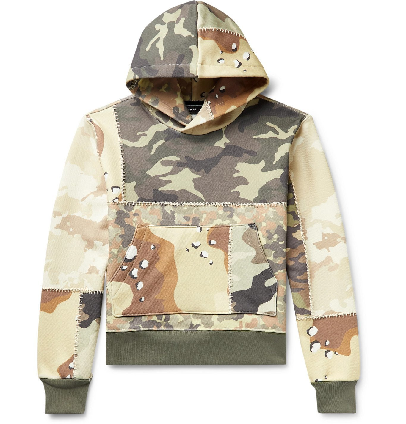 Photo: AMIRI - Patchwork Camouflage-Print Loopback Cotton-Jersey Hoodie - Green