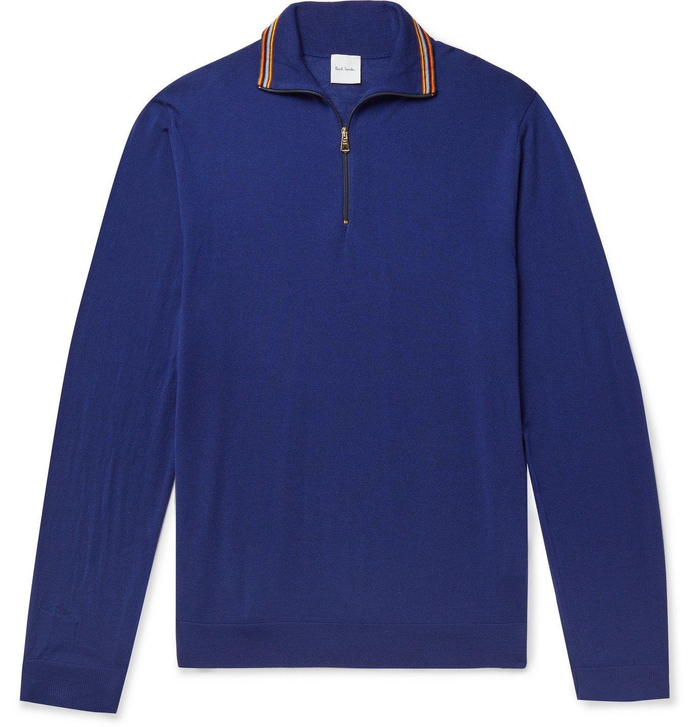 Photo: Paul Smith - Slim-Fit Stripe-Trimmed Merino Wool Half-Zip Sweater - Blue