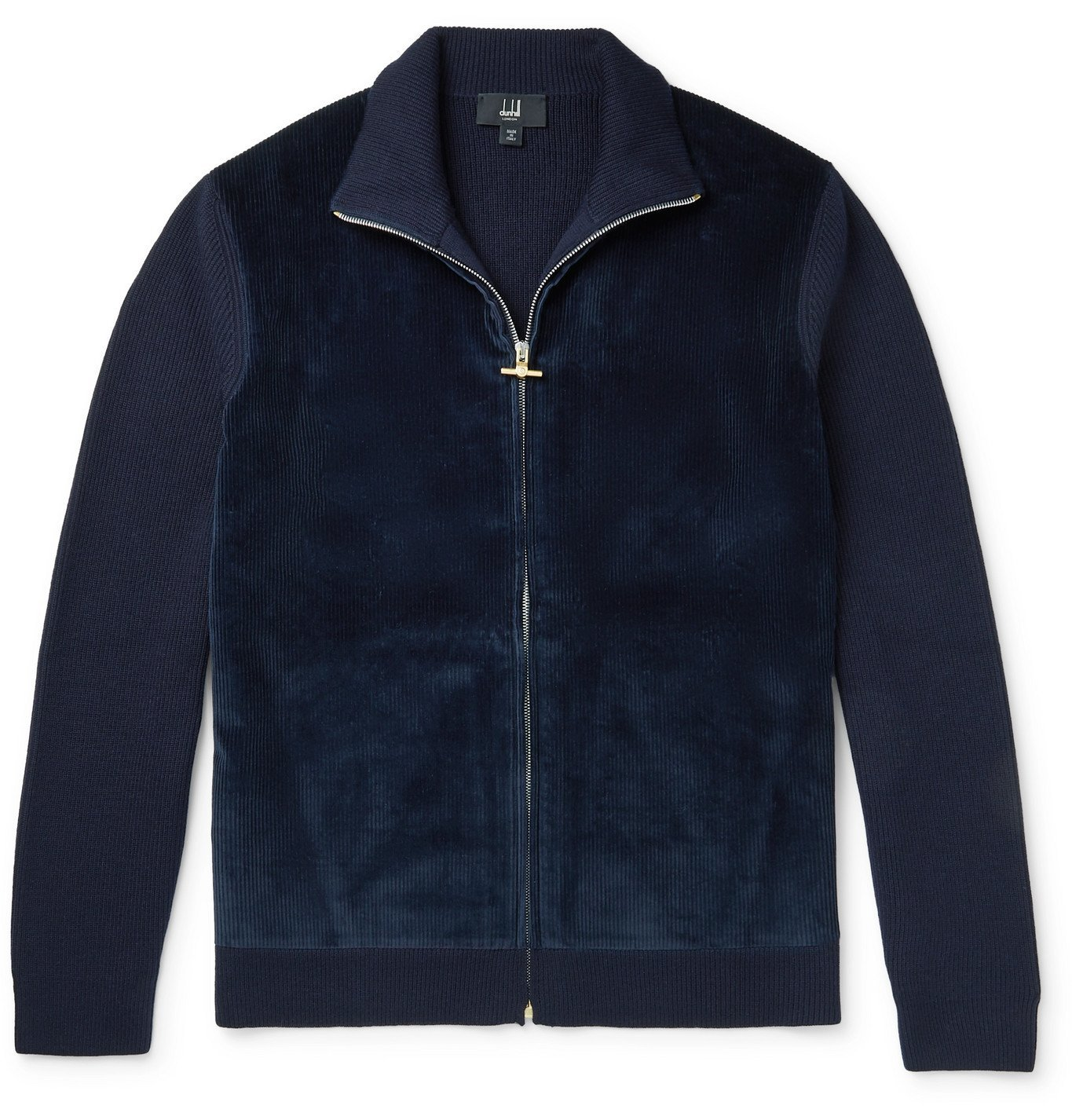 Dunhill - Panelled Cotton-Blend Corduroy and Merino Wool Zip-Up Cardigan - Blue