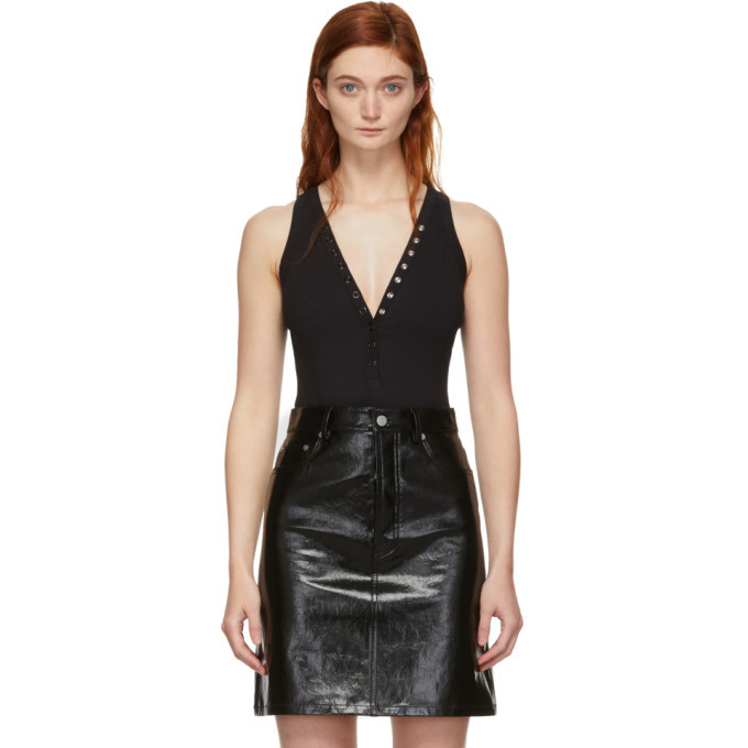 Photo: alexanderwang.t Black Compact Jersey Snaps Bodysuit