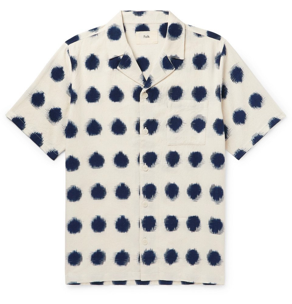 Photo: Folk - Camp-Collar Polka-Dot Cotton Oxford Shirt - White