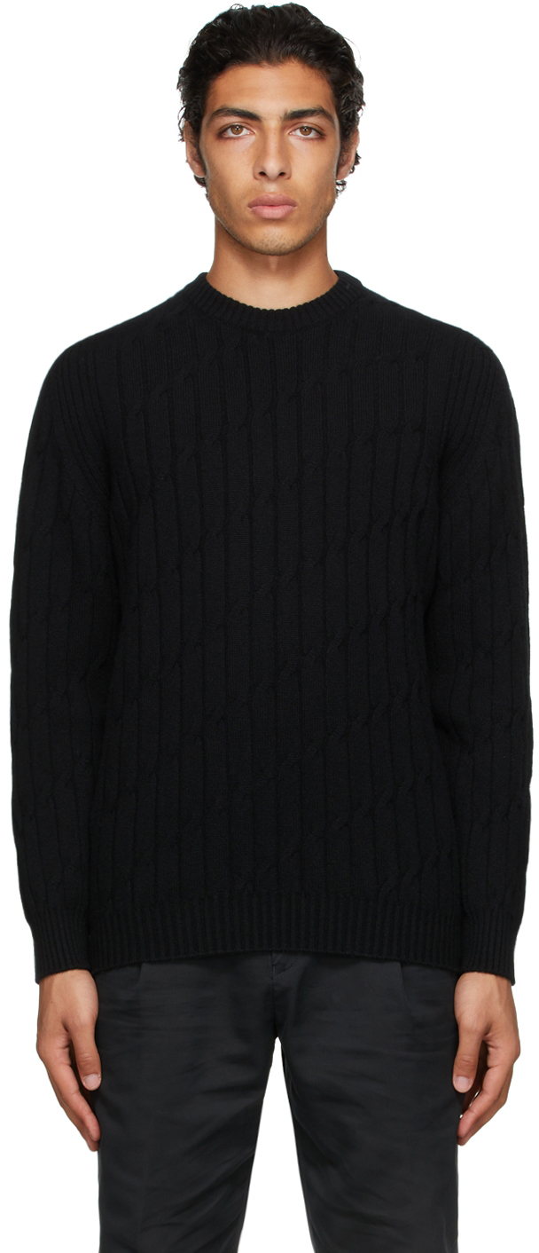 Photo: Dunhill Black Knurl Cable Sweater