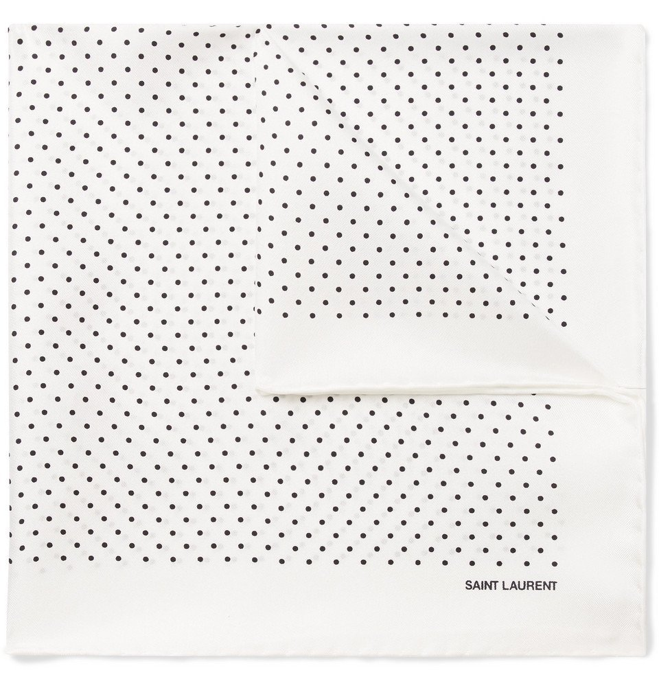 Photo: SAINT LAURENT - Polka-Dot Silk-Twill Pocket Square - White