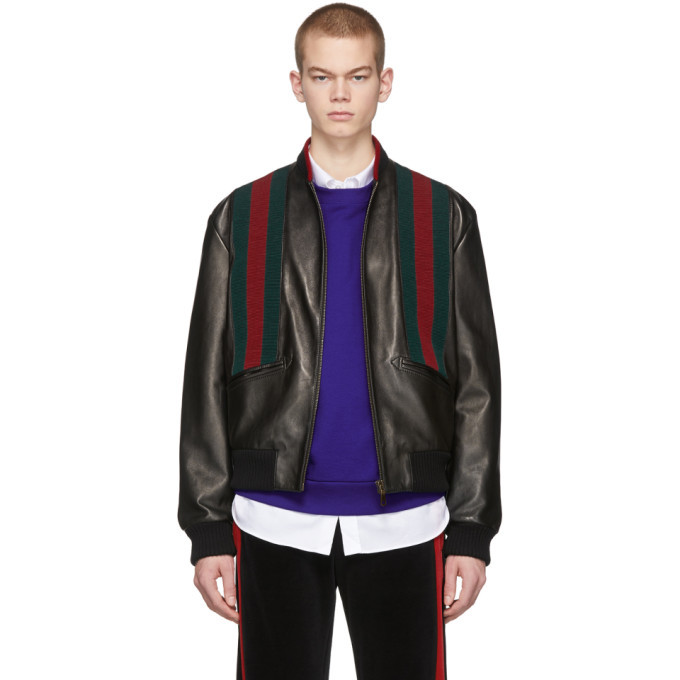 Photo: Gucci Black Lambskin Web Bomber Jacket