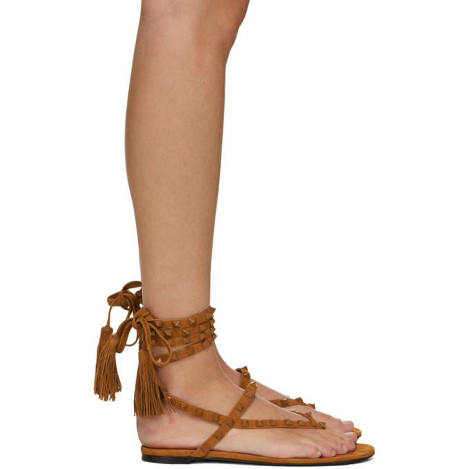 Photo: Valentino Brown Valentino Garavani Rockstud Flair Thong Sandals