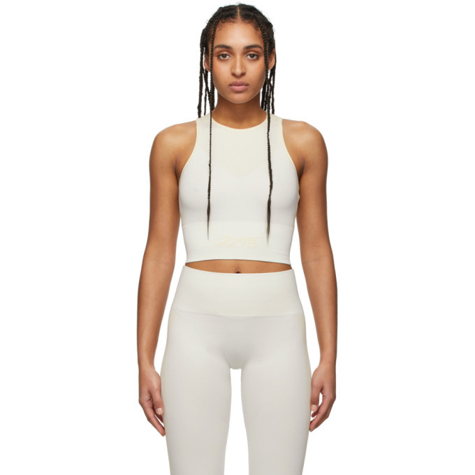 Photo: Reebok By Victoria Beckham Off-White and Beige Seamless Cropped Tank Top
