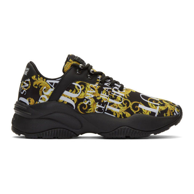 Photo: Versace Jeans Couture Black and Gold Monster Sole Sneakers