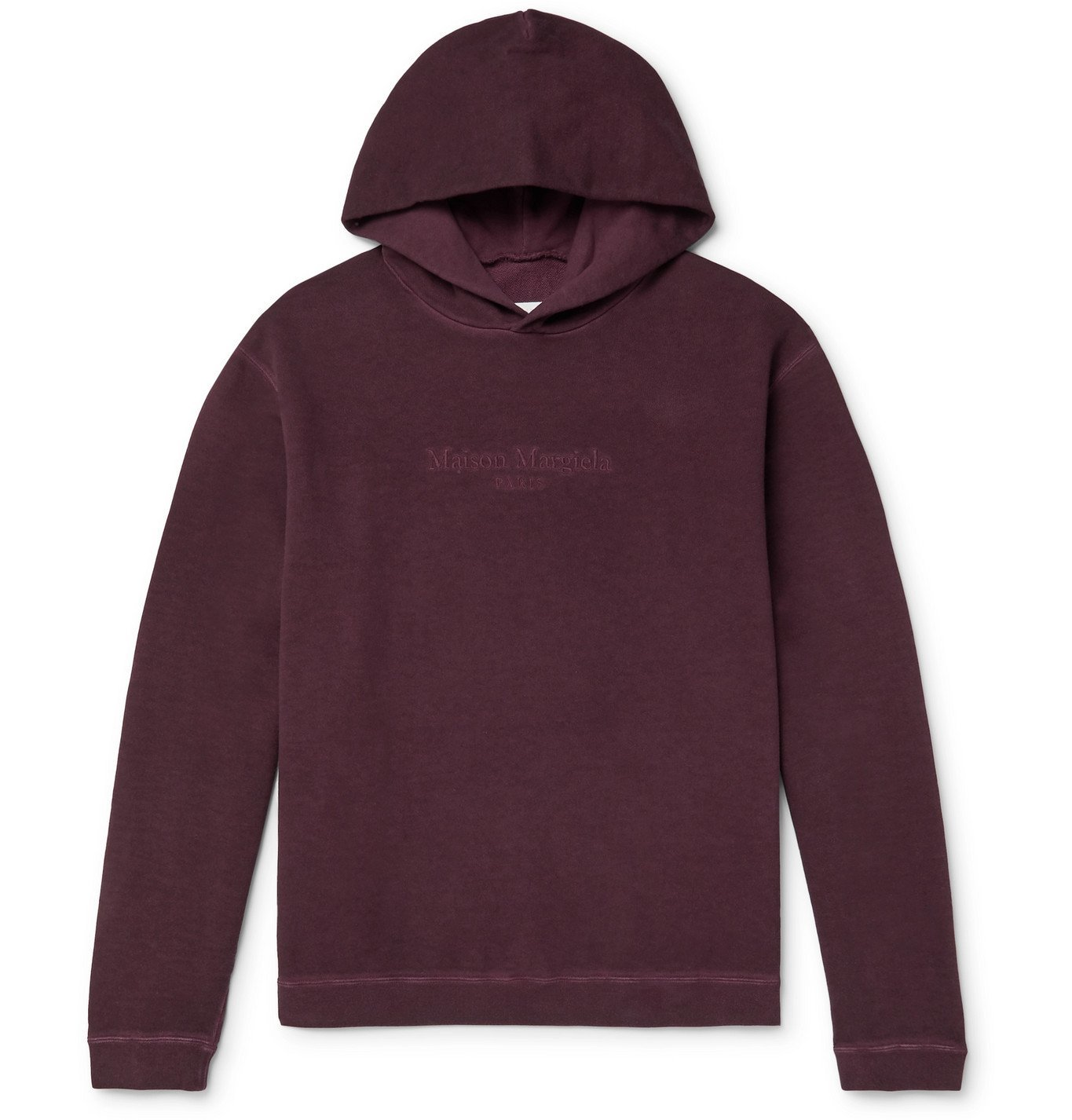 Photo: Maison Margiela - Oversized Logo-Embroidered Garment-Dyed Loopback Cotton-Jersey Hoodie - Burgundy