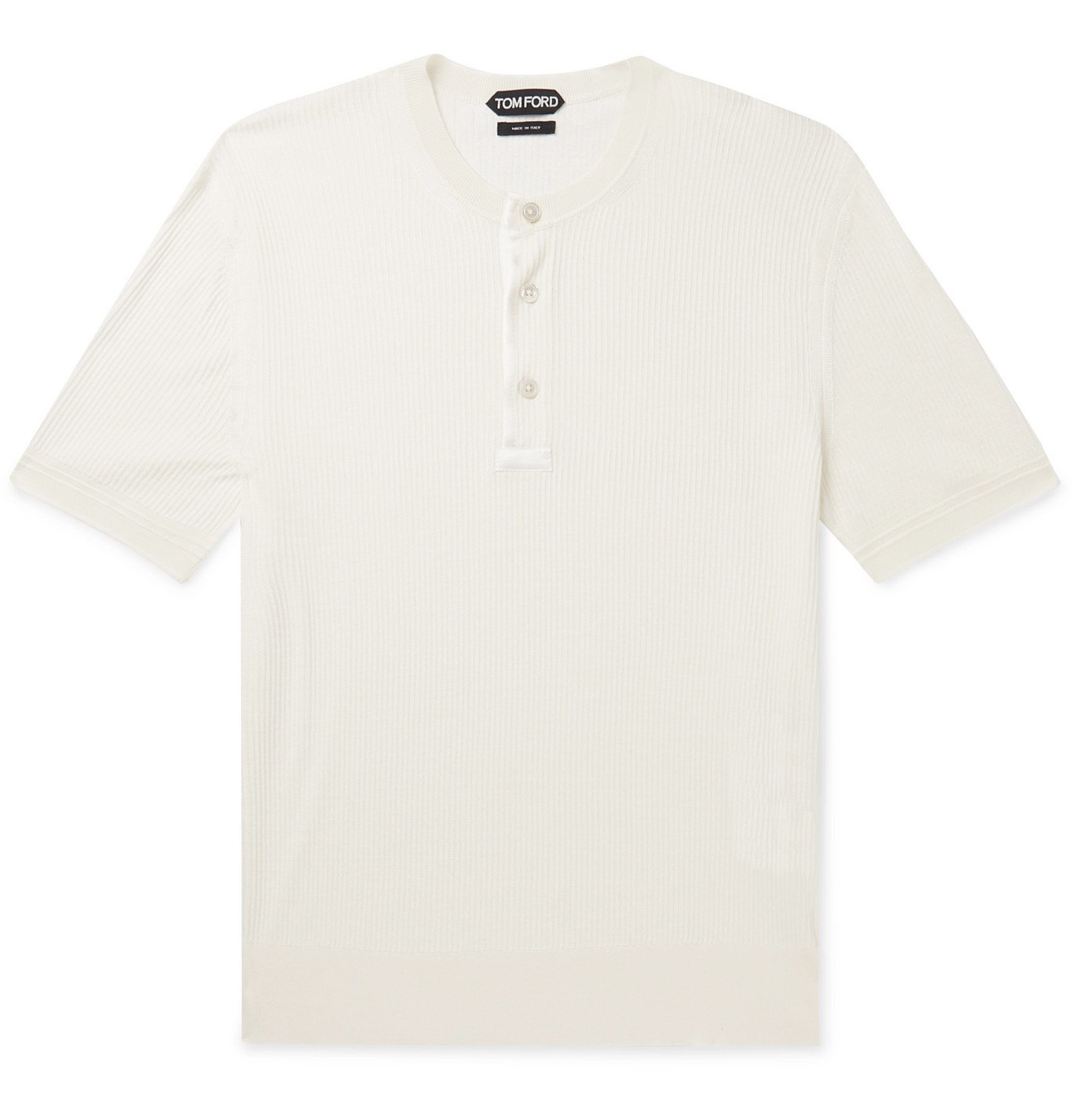 Photo: TOM FORD - Satin-Trimmed Ribbed Silk Henley T-Shirt - White