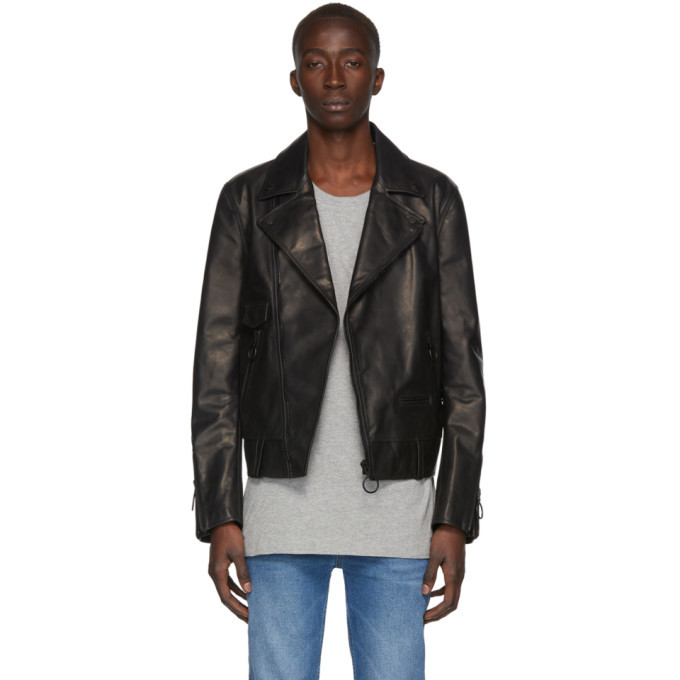 Photo: Off-White Black Leather Slim Biker Jacket