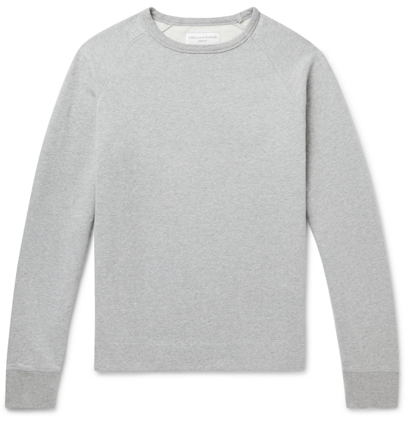 Photo: Officine Generale - Camille Garment-Dyed Mélange Fleece-Back Cotton-Jersey Sweatshirt - Gray