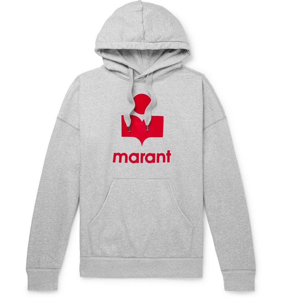 Photo: Isabel Marant - Miley Logo-Flocked Mélange Fleece-Back Cotton-Blend Jersey Hoodie - Gray