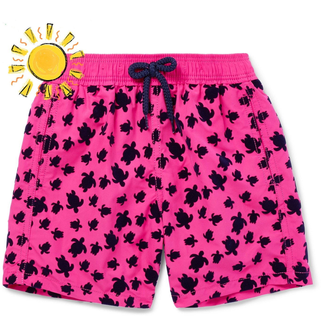 Photo: Vilebrequin - Boys Ages 10 - 12 Jim Flocked Swim Shorts - Pink