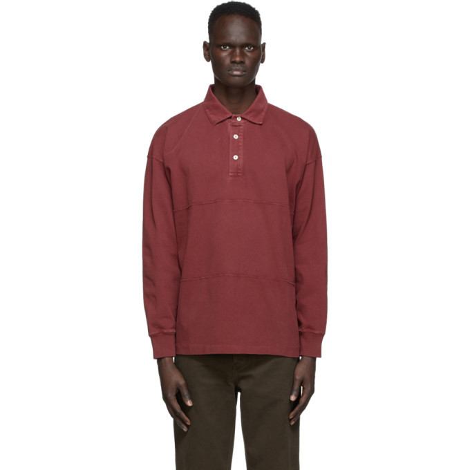 Photo: Schnaydermans Burgundy Garment Dyed Rugby Polo