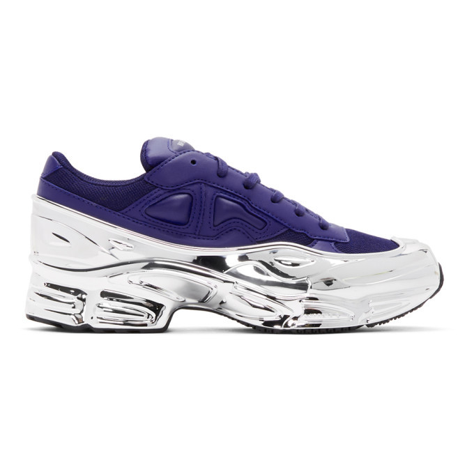 Photo: Raf Simons Navy and Silver adidas Originals Edition Ozweego Sneakers