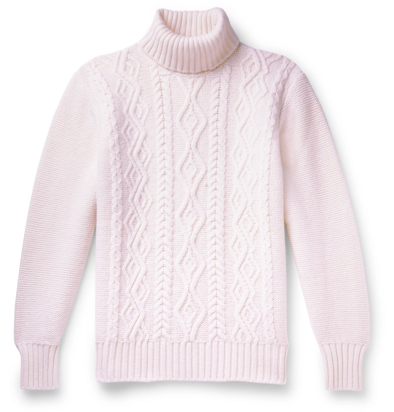 Photo: Inis Meáin - Slim-Fit Cable-Knit Merino Wool Rollneck Sweater - Neutrals