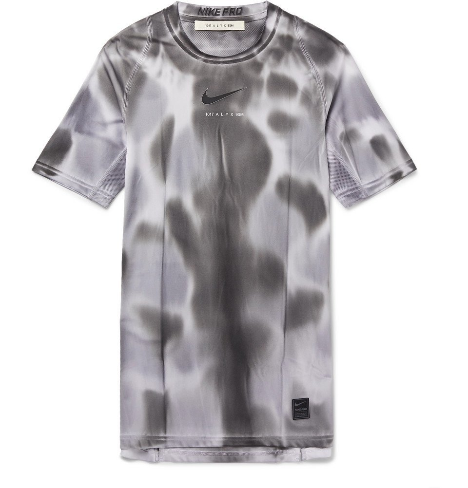 1017 ALYX 9SM - Nike Mesh-Panelled Logo and Camouflage-Print Stretch-Jersey T-Shirt - Gray