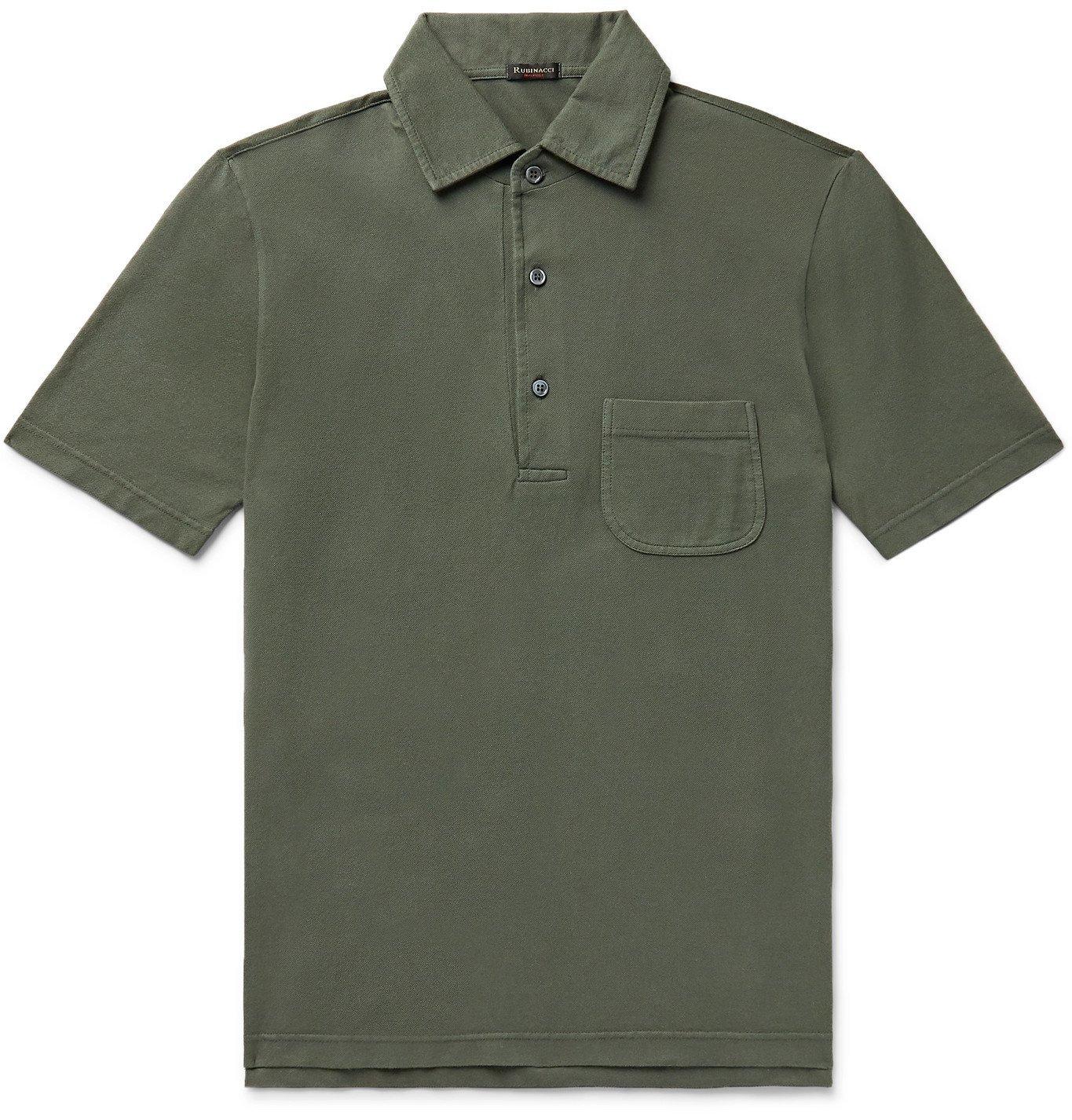 Photo: Rubinacci - Cotton-Piqué Polo Shirt - Green