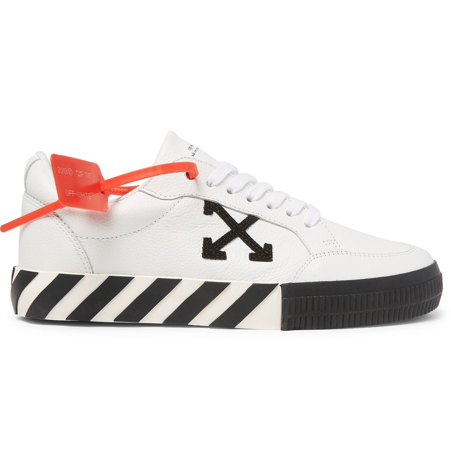 Off-White - Logo-Appliquéd Full-Grain Leather Sneakers - White