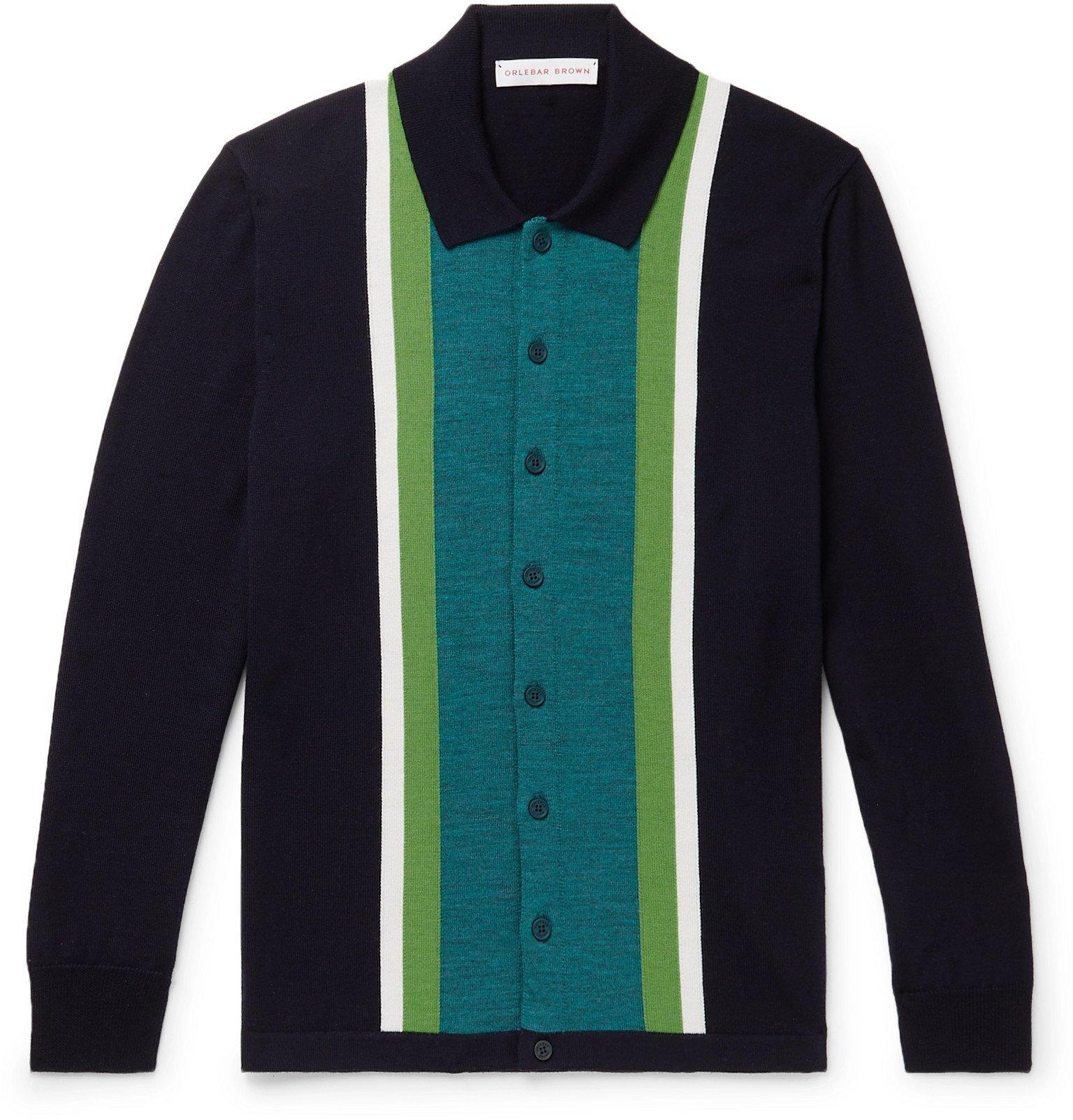 Photo: Orlebar Brown - Sinclair Slim-Fit Striped Merino Wool Cardigan - Blue