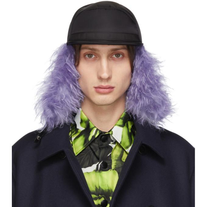 Photo: Prada Black and Purple Fur Flap Iris Cap