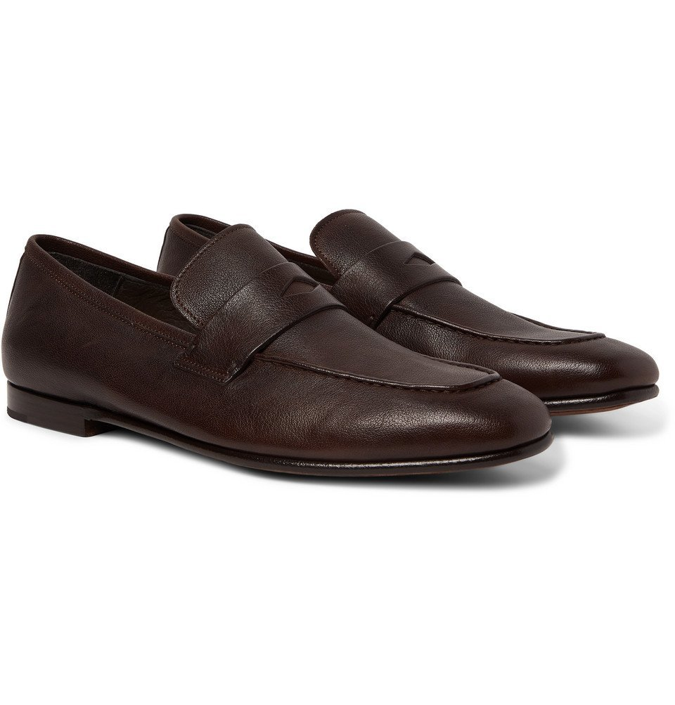 Dunhill - Textured-Leather Penny Loafers - Dark brown