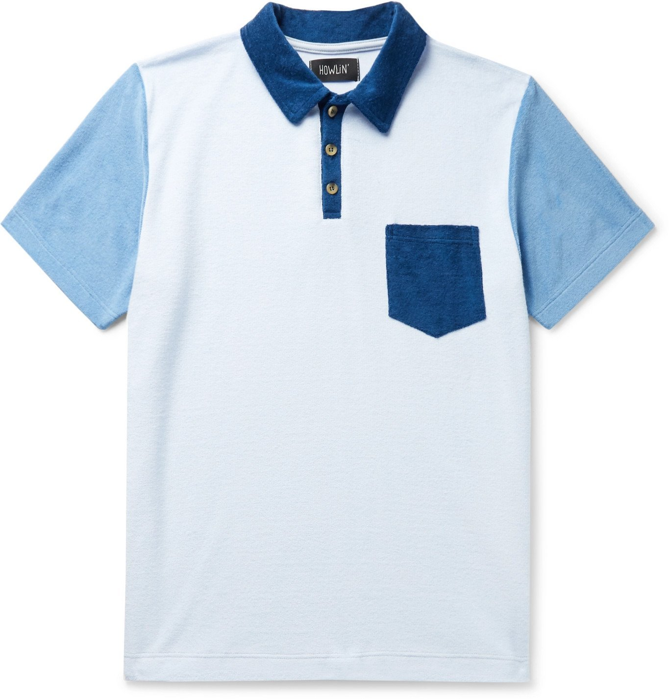 Photo: Howlin' - Mr Fantasy Colour-Blocked Cotton-Blend Terry Polo Shirt - Blue