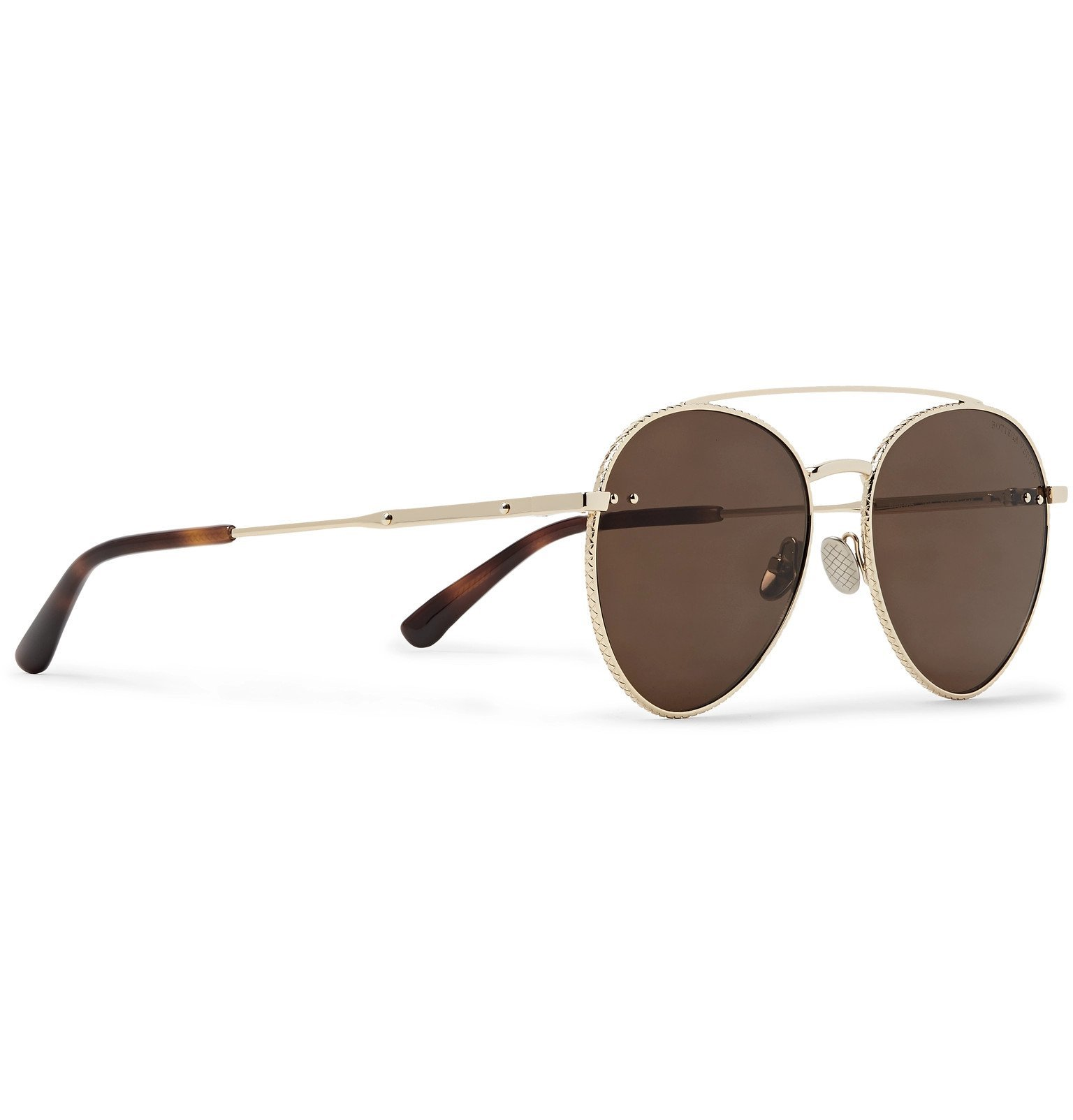 Bottega Veneta - Round-Frame Engraved Gold-Tone Sunglasses - Gold