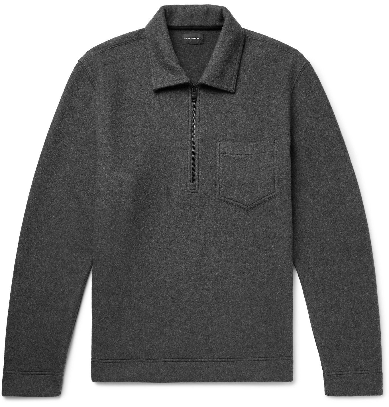 Photo: CLUB MONACO - Mélange Brushed Cotton-Blend Half-Zip Sweatshirt - Gray