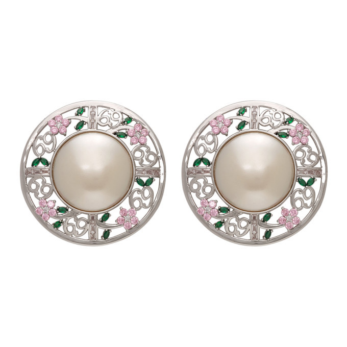 Photo: Jiwinaia SSENSE Exclusive Pink 69 Floral Disc Earrings