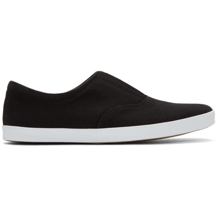 Photo: Lemaire Black Twill Slip-On Sneakers